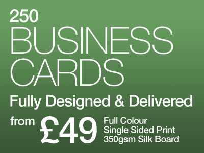 250 business cards designed and printed